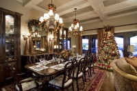 Traditional Christmas Living and Dining Room - traditional - dining room - austin