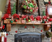 Family Room - Deco Mesh Christmas Wreath And Mantle - traditional - family room - seattle