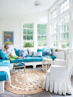 Blue and White Sunroom