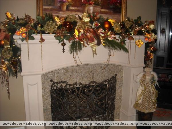bronze christmas theme - traditional - family room - other metro