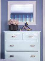Eclectic Ice Blue Dresser & White Mirror in Blue Bedroom : Designers' Portfolio