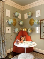 Corner Chair in a Kids Room with Wall Mounted Globes and Round Table : Designers' Portfolio