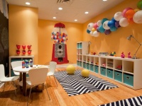 Colorful Playroom with Wall Chalkboard and Wall Cubbies : Designers' Portfolio
