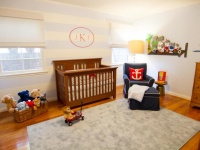 Blue and White Striped Wall with Monogram in Nursery : Designers' Portfolio