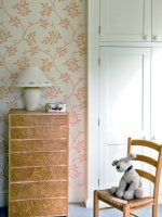 Childs Room with Pink and White Ringwold Wallpaper, Chest and Chair : Designers' Portfolio