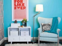White Modern Side Table and Shag Rug With Bold Colors : Designers' Portfolio
