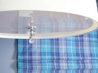 Oversized Drum Pendant Lamp Against Blue Plaid Roman Shade : Designers' Portfolio