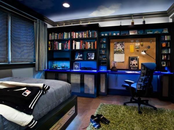 A Baseball-Themed Bedroom With Built-In Shelves : Designers' Portfolio
