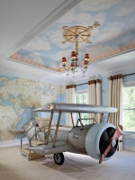 Children's Room with Map Murals, Airplane Bed & Compass : Designers' Portfolio