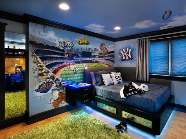 Blue Bedroom for a Baseball Fan : Designers' Portfolio