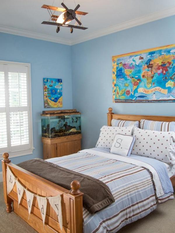 Blue Kid's Room with Bed, Fish Tank & Airplane Light : Designers' Portfolio