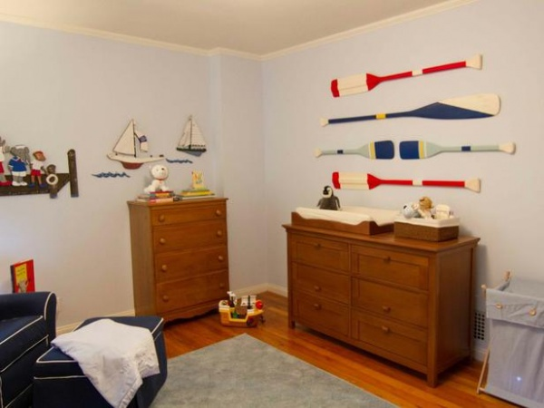 Nautical Themed Nursery with Wood Oars and Sailboats : Designers' Portfolio