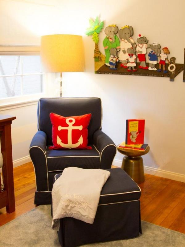 Nursery Chair in Nautical Theme with Anchor Pillow : Designers' Portfolio