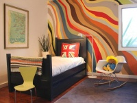 Wave of Colors on Kid Bedroom Wall for Playful Touch : Designers' Portfolio