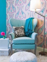 Vintage Chair With Leather Pouf Ottoman in Tween's Room : Designers' Portfolio