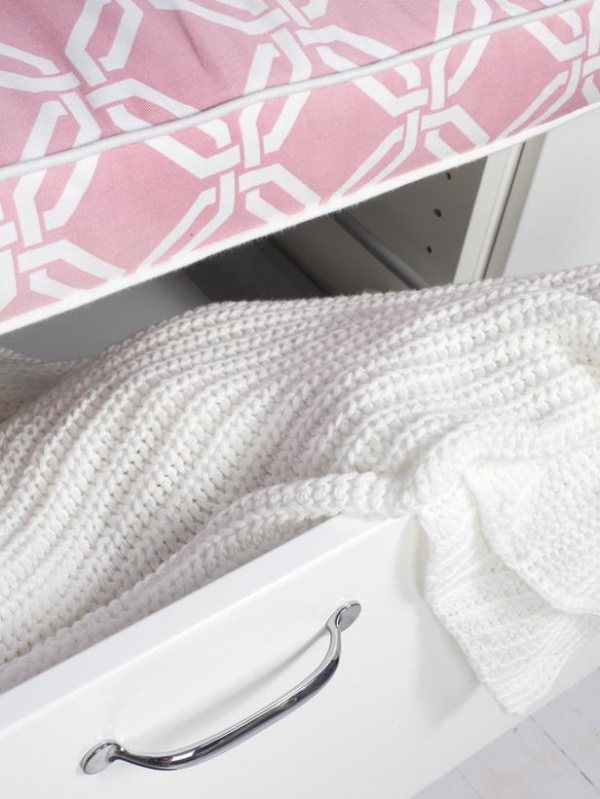 White Drawer With Pink Top & White Knit Coverlet : Designers' Portfolio