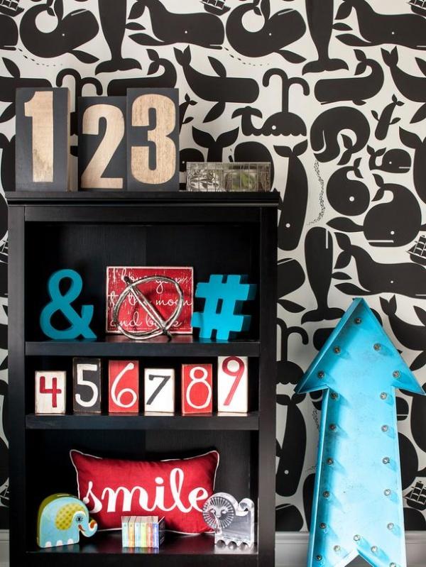 Whimsical Black and White Wallpaper in Boy's Nursery : Designers' Portfolio