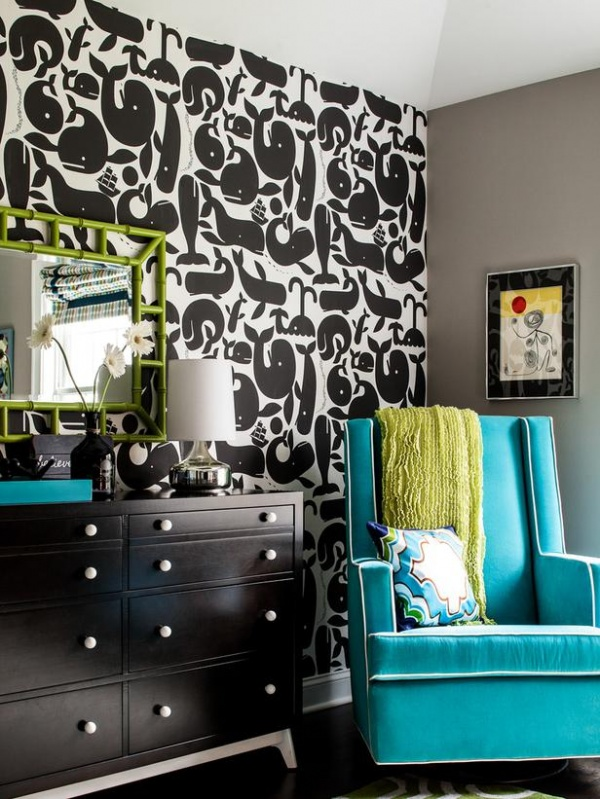 Black Nursery With Taupe Walls And Blue Glider : Designers' Portfolio