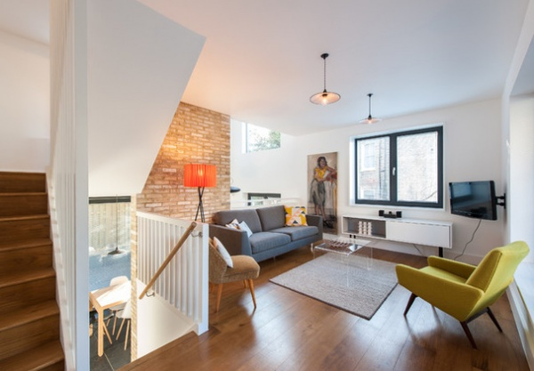 Houzz tour split level home uses every square foot for Bi level homes interior design