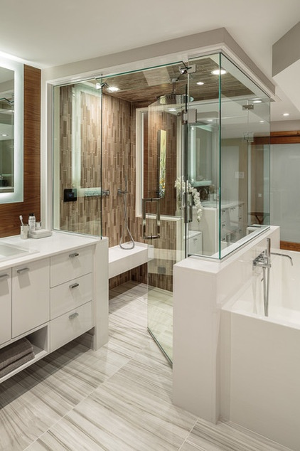 Wasted space put to better use in a large contemporary for Award winning bathroom designs 2015