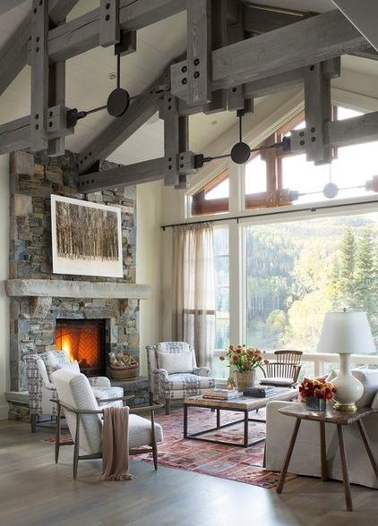 Rustic Living Room by Massucco Warner Miller Interior Design