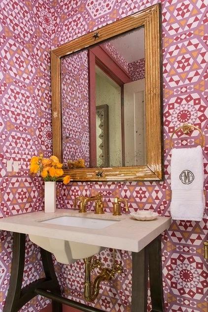 Rustic Powder Room by Massucco Warner Miller Interior Design